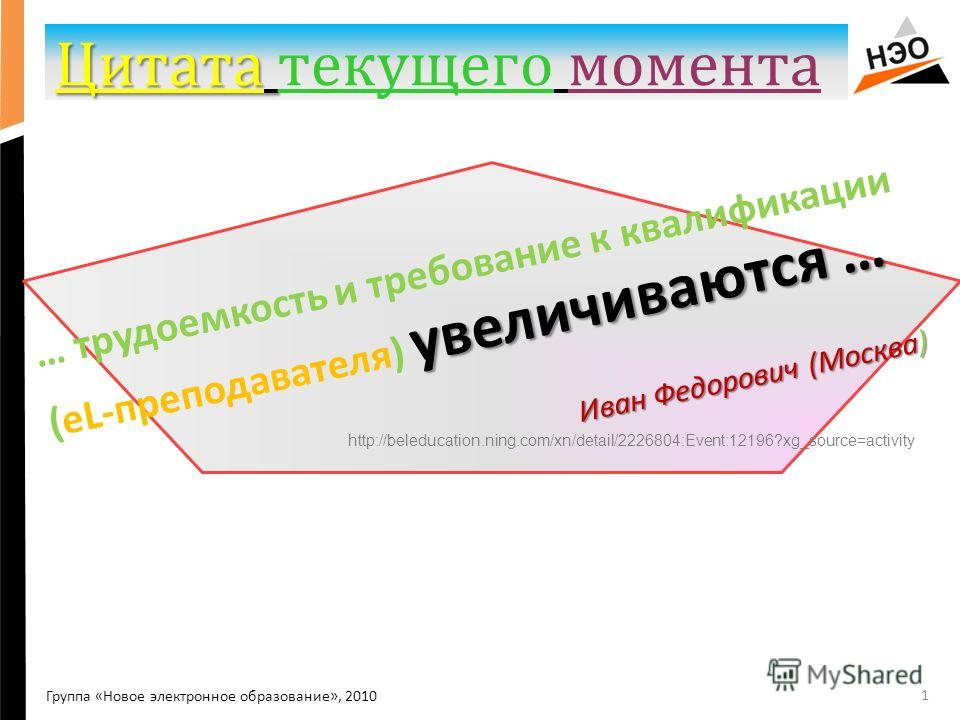 Цитата Цитата текущего момента 1 Группа «Новое электронное образование», 2010 увеличиваются … … трудоемкость и требование к квалификации (еL-преподавателя) увеличиваются … Иван Федорович (Москва) http://beleducation.ning.com/xn/detail/2226804:Event:1