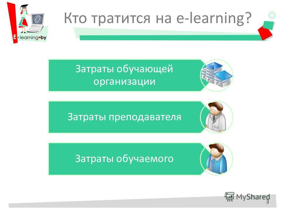 Кто тратится на e-learning? 3 3 Затраты обучающей организации Затраты преподавателя Затраты обучаемого