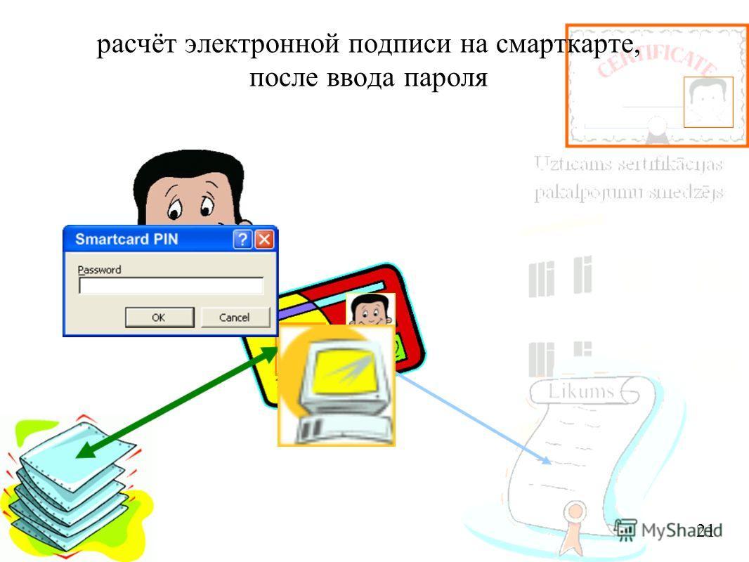 расчёт электронной подписи на смарткарте, после ввода пароля 21