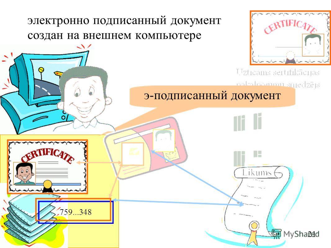 электронно подписанный документ создан на внешнем компьютере 759...348 э-подписанный документ 21