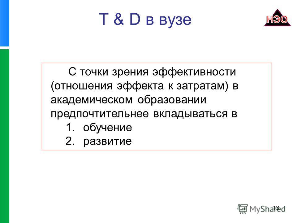 T & D в вузе 13 С точки зрения эффективности (отношения эффекта к затратам) в академическом образовании предпочтительнее вкладываться в 1.обучение 2.развитие