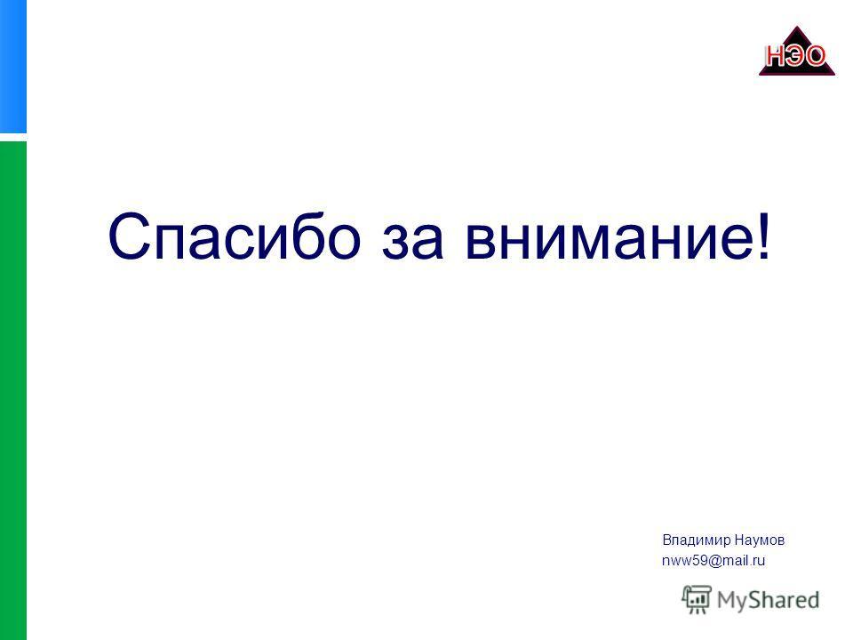 Спасибо за внимание! Владимир Наумов nww59@mail.ru