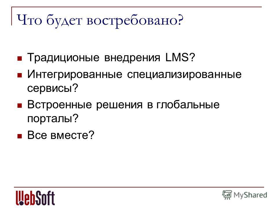 Что будет востребовано? Традиционые внедрения LMS? Интегрированные специализированные сервисы? Встроенные решения в глобальные порталы? Все вместе?
