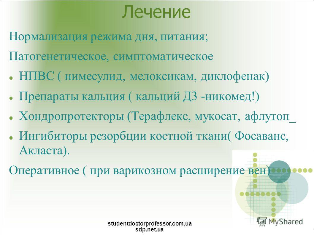Лечение Нормализация режима дня, питания; Патогенетическое, симптоматическое НПВС ( нимесулид, мелоксикам, диклофенак) Препараты кальция ( кальций Д3 -никомед!) Хондропротекторы (Терафлекс, мукосат, афлутоп_ Ингибиторы резорбции костной ткани( Фосава