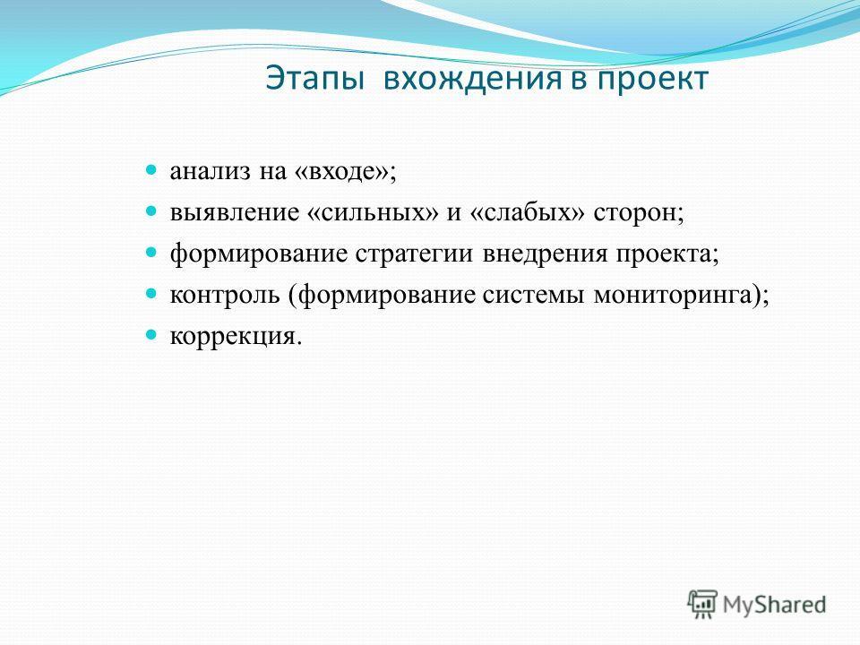 Этапы вхождения в проект анализ на «входе»; выявление «сильных» и «слабых» сторон; формирование стратегии внедрения проекта; контроль (формирование системы мониторинга); коррекция.