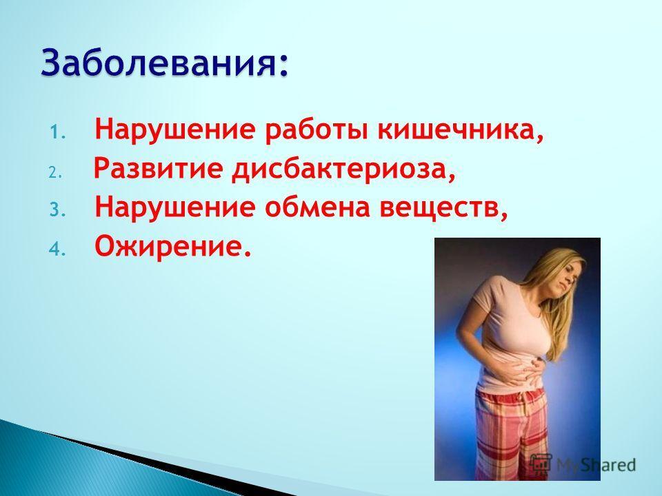 1. Нарушение работы кишечника, 2. Развитие дисбактериоза, 3. Нарушение обмена веществ, 4. Ожирение.