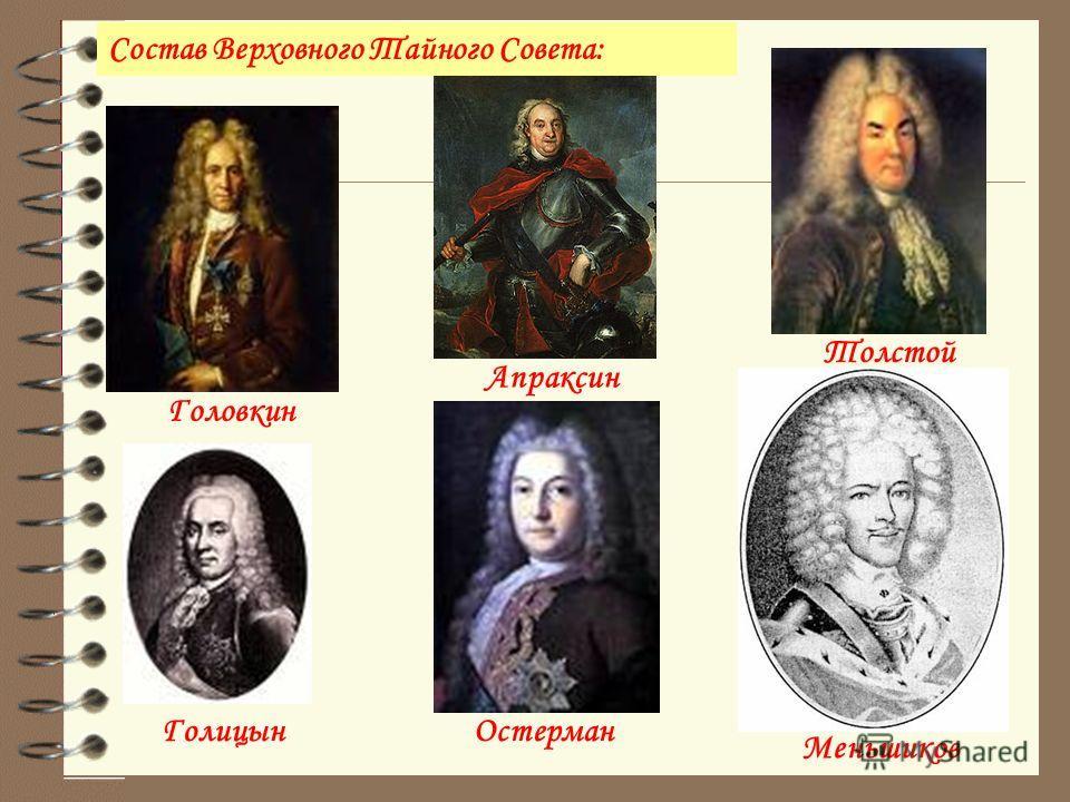 Головкин Апраксин Толстой ГолицынОстерман Меньшиков Состав Верховного Тайного Совета: