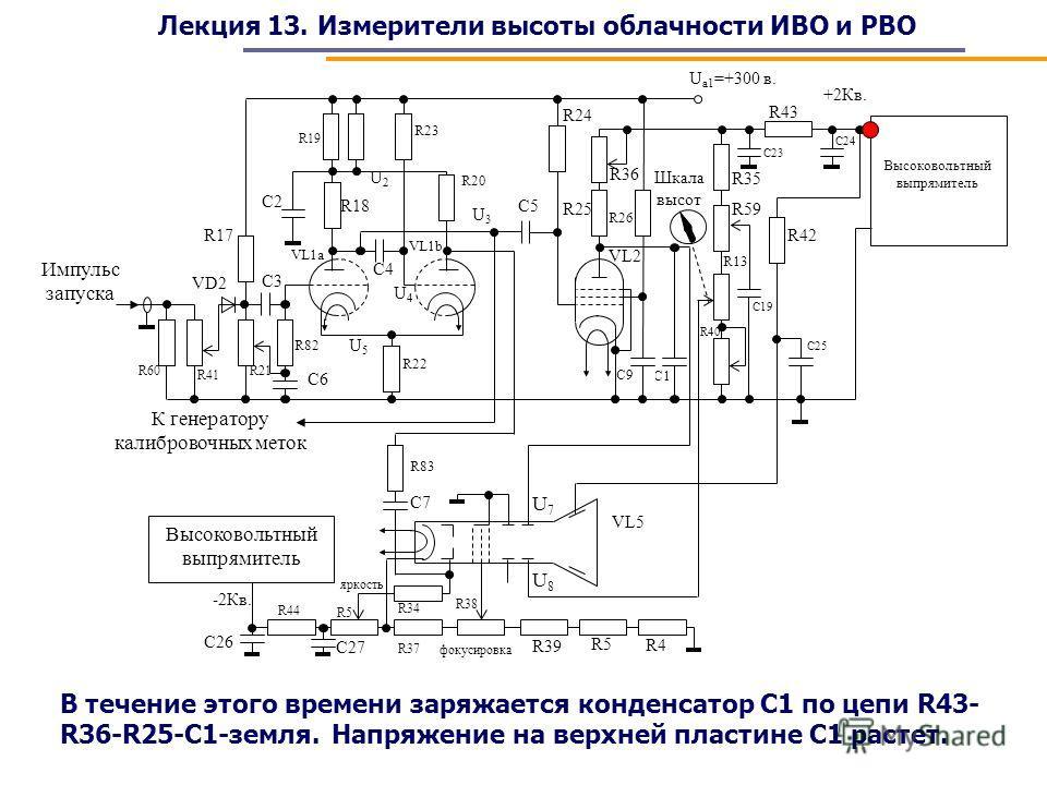 Лекция 13. Измерители высоты облачности ИВО и РВО В течение этого времени заряжается конденсатор С1 по цепи R43- R36-R25-C1-земля. Напряжение на верхней пластине С1 растет.