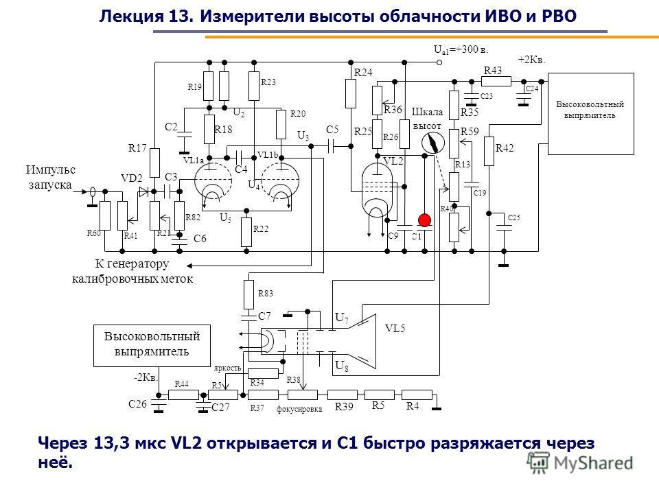 Лекция 13. Измерители высоты облачности ИВО и РВО Через 13,3 мкс VL2 открывается и С1 быстро разряжается через неё.
