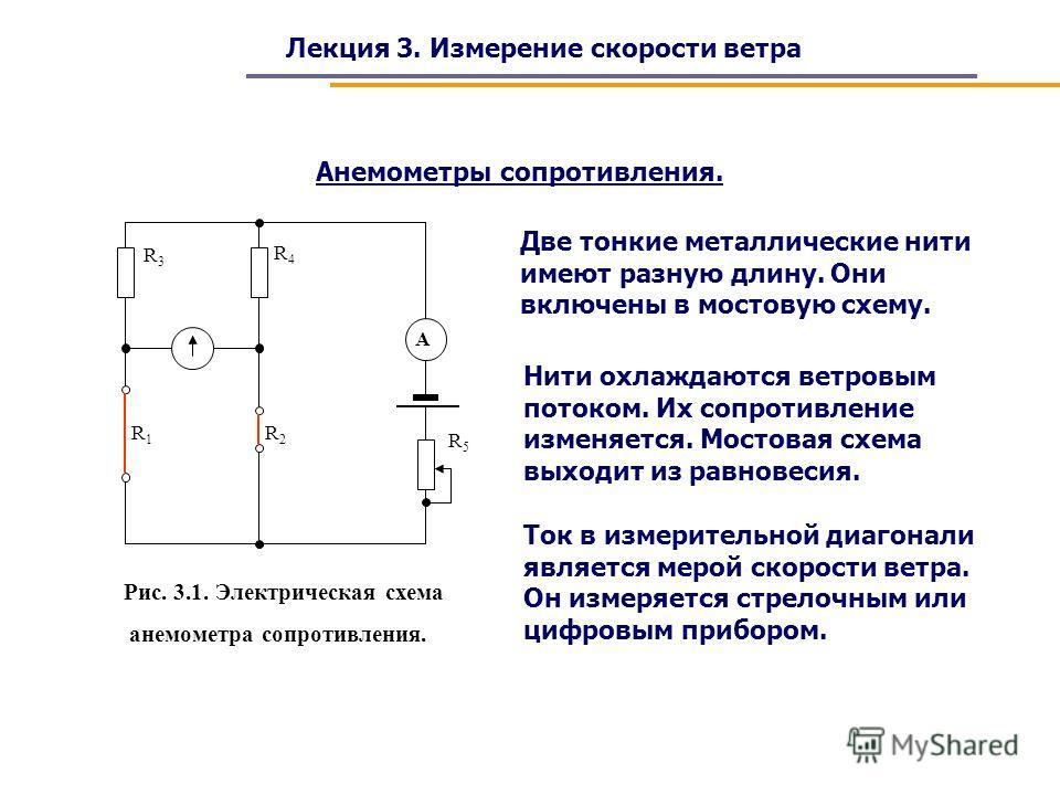 Лекция 3. Измерение скорости ветра Анемометры сопротивления. R3R3 R4R4 R5R5 R1R1 R2R2 А Рис. 3.1. Электрическая схема анемометра сопротивления. Две тонкие металлические нити имеют разную длину. Они включены в мостовую схему. Нити охлаждаются ветровым