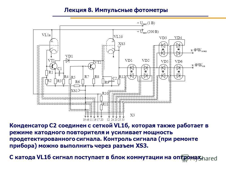 Лекция 8. Импульсные фотометры Конденсатор С2 соединен с сеткой VL1б, которая также работает в режиме катодного повторителя и усиливает мощность продетектированного сигнала. Контроль сигнала (при ремонте прибора) можно выполнить через разъем XS3. С к