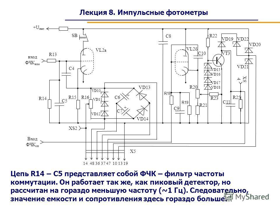 Лекция 8. Импульсные фотометры Цепь R14 – C5 представляет собой ФЧК – фильтр частоты коммутации. Он работает так же, как пиковый детектор, но рассчитан на гораздо меньшую частоту (~1 Гц). Следовательно, значение емкости и сопротивления здесь гораздо