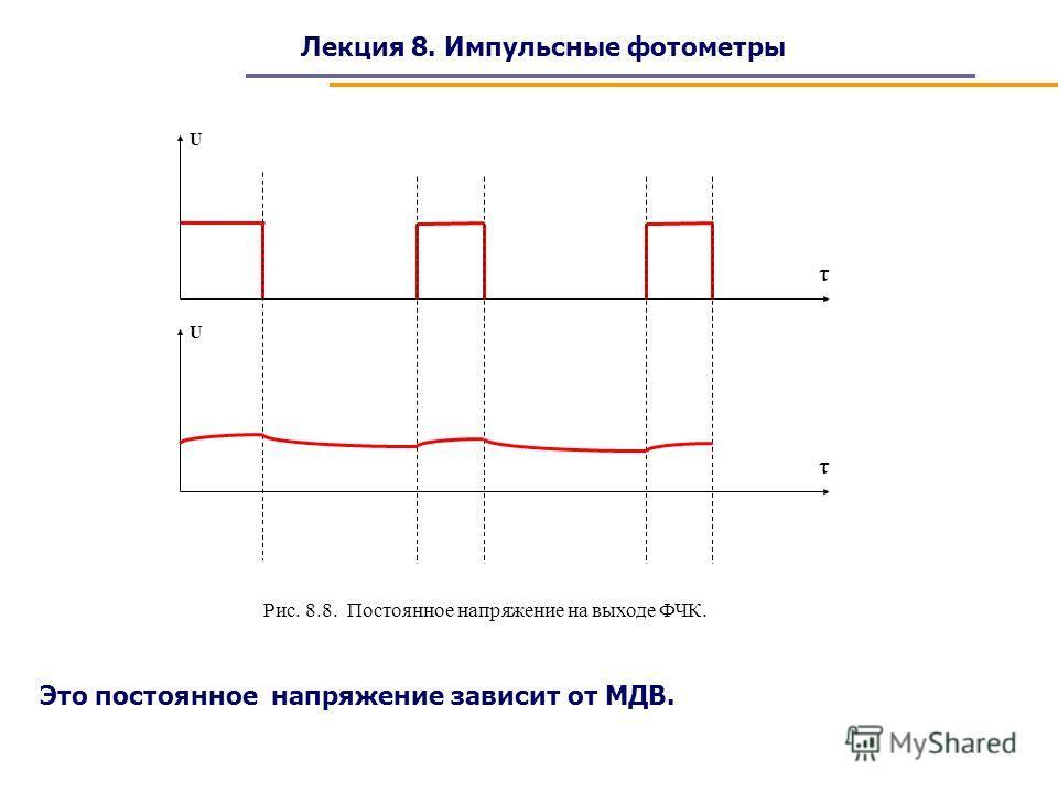 Лекция 8. Импульсные фотометры U τ Рис. 8.8. Постоянное напряжение на выходе ФЧК. U τ Это постоянное напряжение зависит от МДВ.