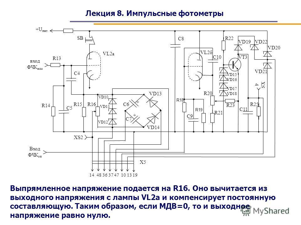Лекция 8. Импульсные фотометры Выпрямленное напряжение подается на R16. Оно вычитается из выходного напряжения с лампы VL2a и компенсирует постоянную составляющую. Таким образом, если МДВ=0, то и выходное напряжение равно нулю.