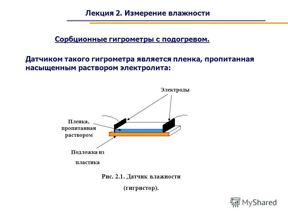 Лекция 2. Измерение влажности Сорбционные гигрометры с подогревом. Датчиком такого гигрометра является пленка, пропитанная насыщенным раствором электролита: Подложка из пластика Пленка, пропитанная раствором Электроды Рис. 2.1. Датчик влажности (гигр