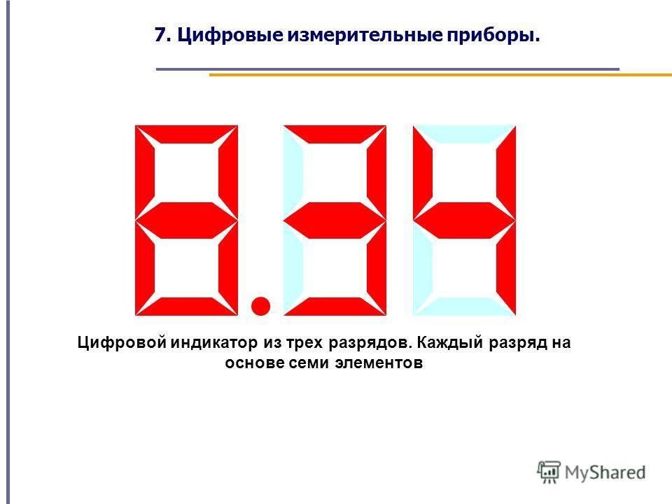 Цифровой индикатор из трех разрядов. Каждый разряд на основе семи элементов 7. Цифровые измерительные приборы.