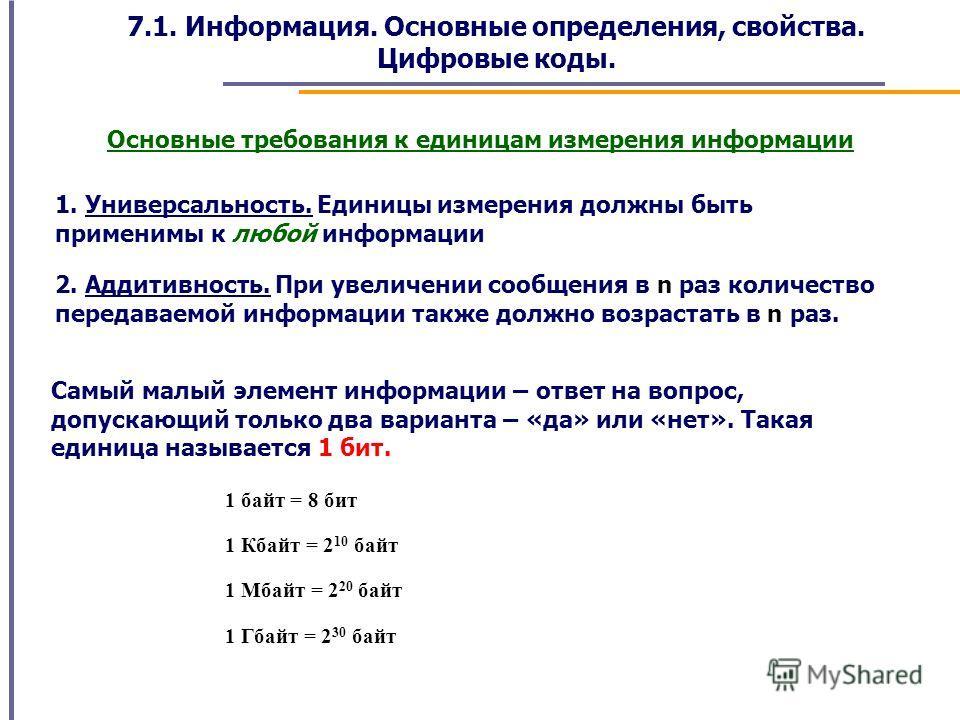 7.1. Информация. Основные определения, свойства. Цифровые коды. Основные требования к единицам измерения информации 1. Универсальность. Единицы измерения должны быть применимы к любой информации 2. Аддитивность. При увеличении сообщения в n раз колич