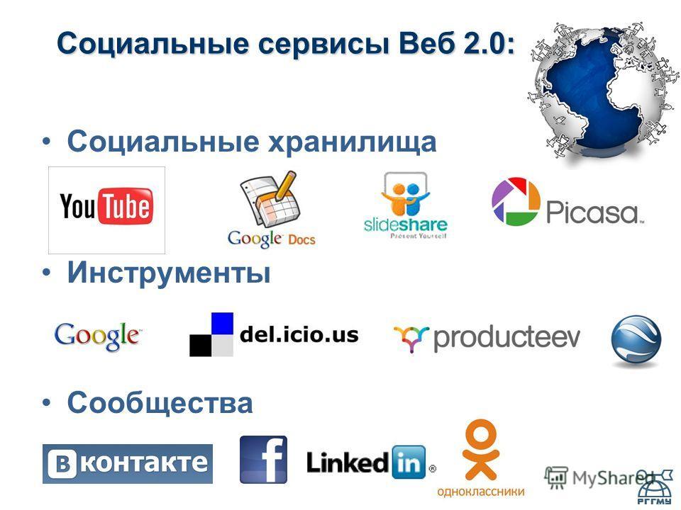 Социальные сервисы Веб 2.0: Социальные хранилища Инструменты Сообщества