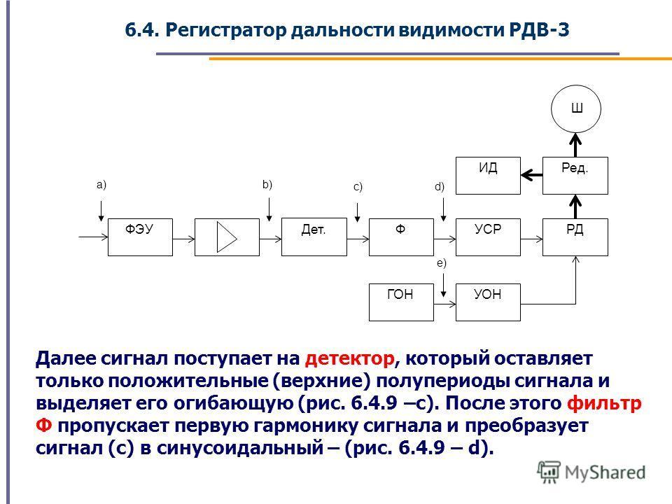 6.4. Регистратор дальности видимости РДВ-3 Далее сигнал поступает на детектор, который оставляет только положительные (верхние) полупериоды сигнала и выделяет его огибающую (рис. 6.4.9 –с). После этого фильтр Ф пропускает первую гармонику сигнала и п