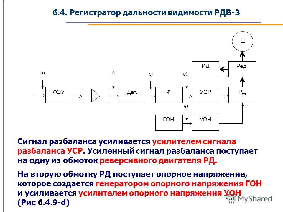 6.4. Регистратор дальности видимости РДВ-3 Сигнал разбаланса усиливается усилителем сигнала разбаланса УСР. Усиленный сигнал разбаланса поступает на одну из обмоток реверсивного двигателя РД. На вторую обмотку РД поступает опорное напряжение, которое