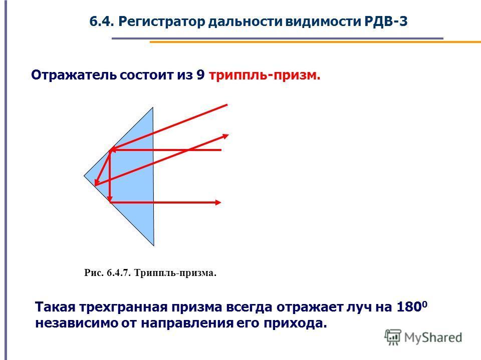 6.4. Регистратор дальности видимости РДВ-3 Отражатель состоит из 9 триппль-призм. Такая трехгранная призма всегда отражает луч на 180 0 независимо от направления его прихода. Рис. 6.4.7. Триппль-призма.