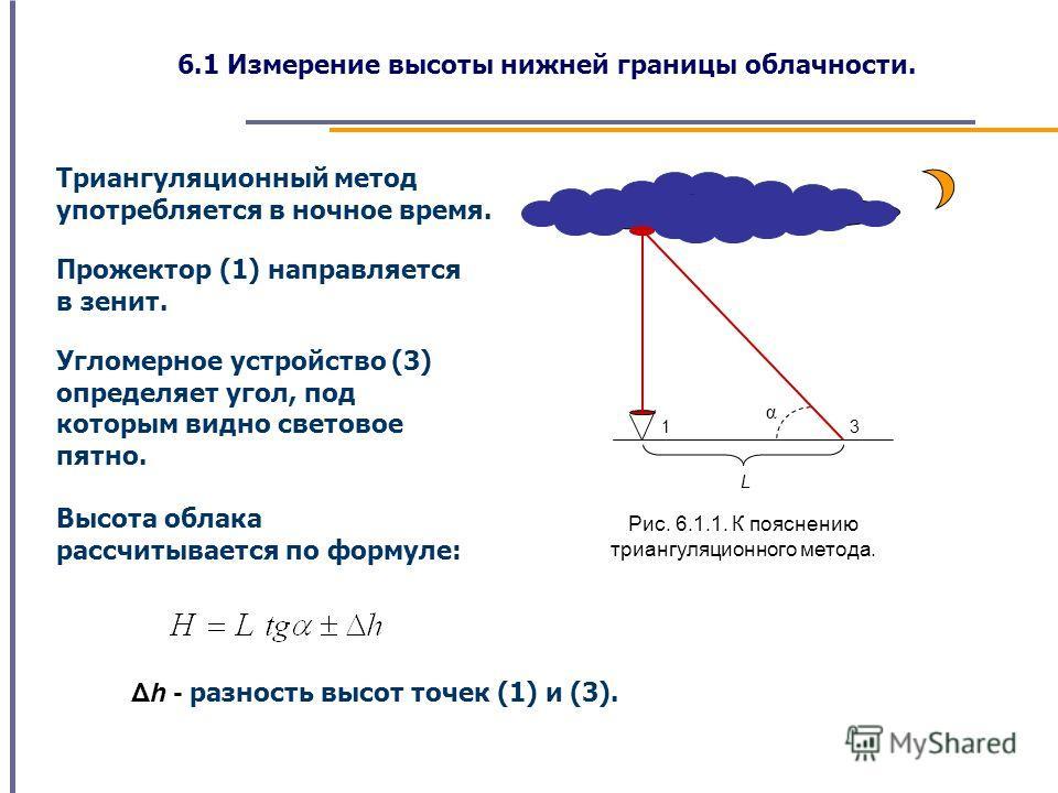 6.1 Измерение высоты нижней границы облачности. Триангуляционный метод употребляется в ночное время. L 3 α 1 Рис. 6.1.1. К пояснению триангуляционного метода. Прожектор (1) направляется в зенит. Угломерное устройство (3) определяет угол, под которым