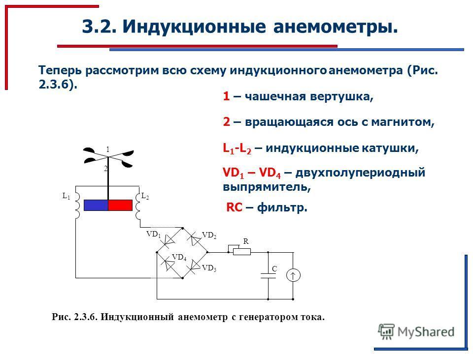 3.2. Индукционные анемометры. L 1 L2L2 VD 2 VD 1 VD 4 VD 3 R C Рис. 2.3.6. Индукционный анемометр с генератором тока. 1 2 Теперь рассмотрим всю схему индукционного анемометра (Рис. 2.3.6). 1 – чашечная вертушка, 2 – вращающаяся ось с магнитом, VD 1 –