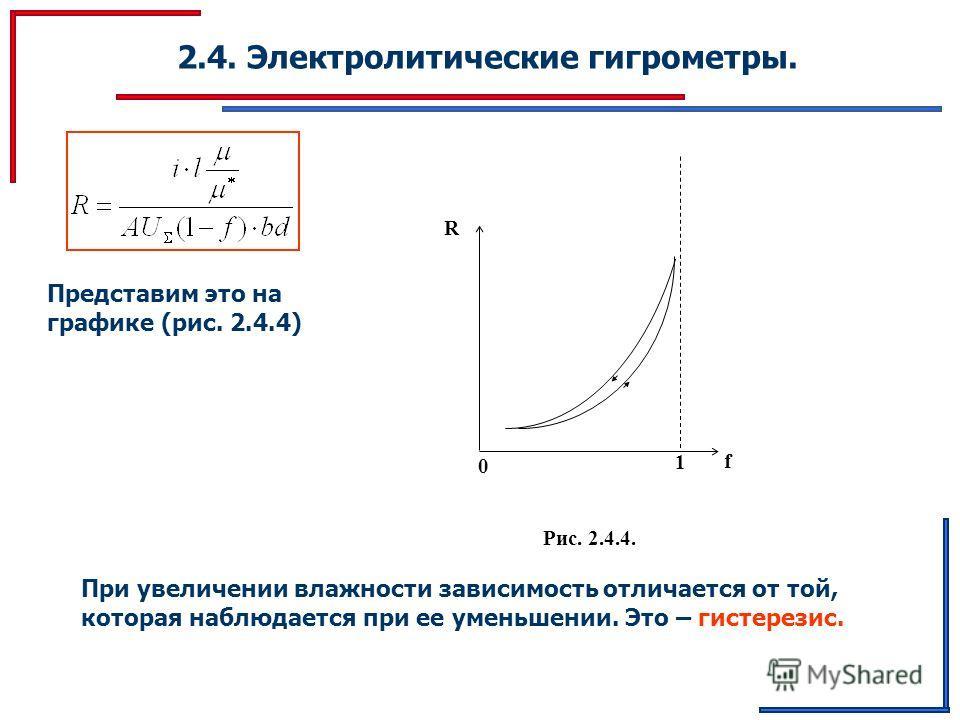 2.4. Электролитические гигрометры. Представим это на графике (рис. 2.4.4) 1 R f 0 Рис. 2.4.4. При увеличении влажности зависимость отличается от той, которая наблюдается при ее уменьшении. Это – гистерезис.