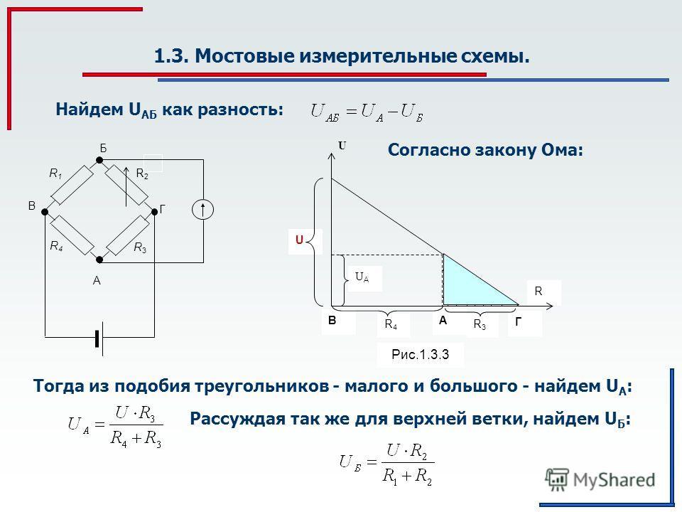 1.3. Мостовые измерительные схемы. Найдем U АБ как разность: R3R3 R2R2 R1R1 R4R4 Б A Г В Согласно закону Ома: Тогда из подобия треугольников - малого и большого - найдем U А : R3R3 R4R4 Г АВ UAUA U U R Рис.1.3.3 Рассуждая так же для верхней ветки, на