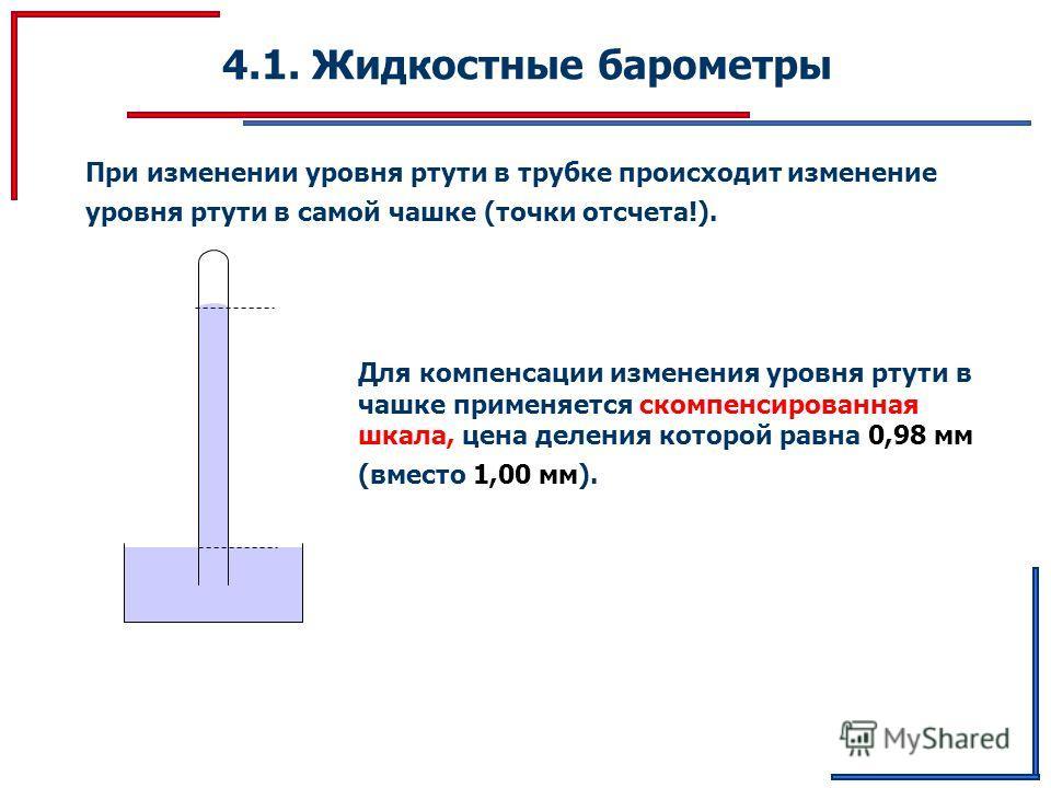 4.1. Жидкостные барометры При изменении уровня ртути в трубке происходит изменение уровня ртути в самой чашке (точки отсчета!). Для компенсации изменения уровня ртути в чашке применяется скомпенсированная шкала, цена деления которой равна 0,98 мм (вм