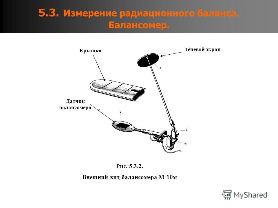 5.3. Измерение радиационного баланса. Балансомер. Рис. 5.3.2. Внешний вид балансомера М-10м Датчик балансомера Теневой экран Крышка