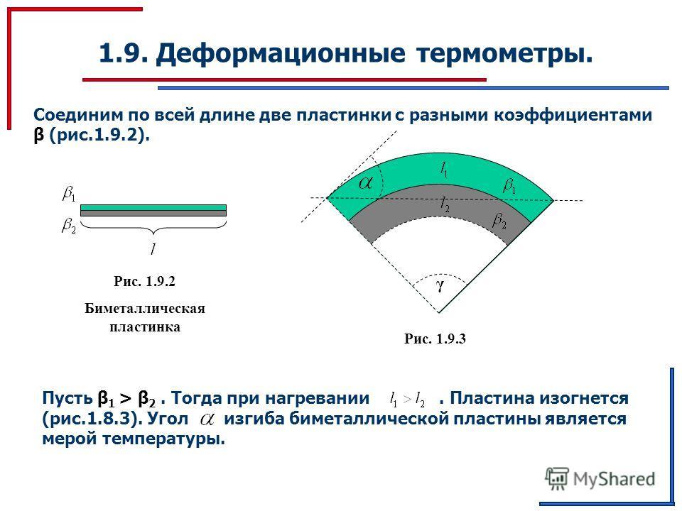 1.9. Деформационные термометры. Соединим по всей длине две пластинки с разными коэффициентами β (рис.1.9.2). Рис. 1.9.2 Биметаллическая пластинка Пусть β 1 > β 2. Тогда при нагревании. Пластина изогнется (рис.1.8.3). Угол изгиба биметаллической пласт