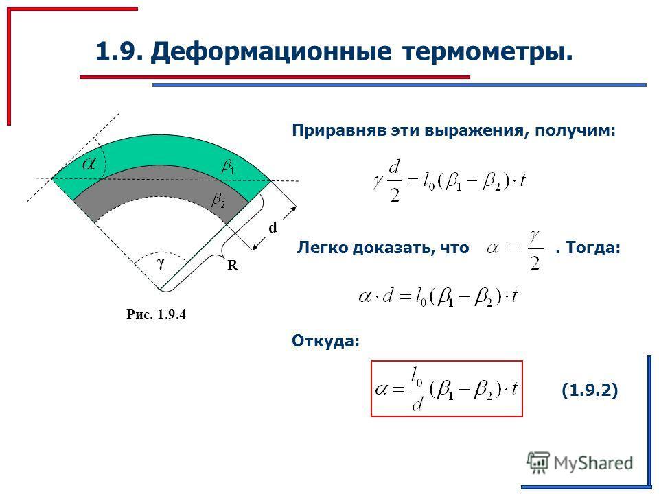 1.9. Деформационные термометры. γ Рис. 1.9.4 d R Приравняв эти выражения, получим: Легко доказать, что. Тогда: Откуда: (1.9.2)