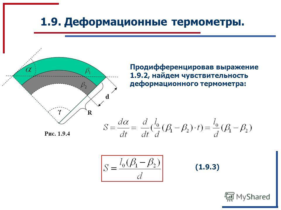 1.9. Деформационные термометры. Продифференцировав выражение 1.9.2, найдем чувствительность деформационного термометра: γ Рис. 1.9.4 d R (1.9.3)