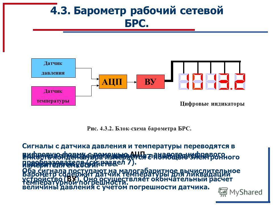 4.3. Барометр рабочий сетевой БРС. Датчик давления Датчик температуры АЦП ВУ Цифровые индикаторы Рис. 4.3.2. Блок-схема барометра БРС. Ёмкость конденсатора измеряется с помощью электронного измерителя емкости. Барометр содержит датчик температуры для