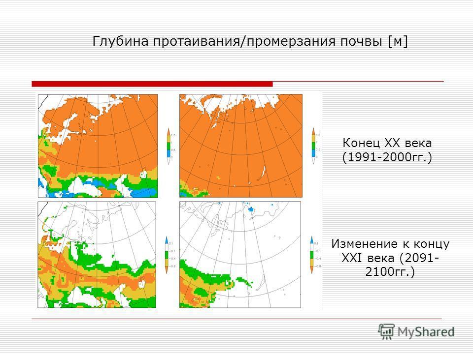 Конец XX века (1991-2000гг.) Глубина протаивания/промерзания почвы [м] Изменение к концу XXI века (2091- 2100гг.)