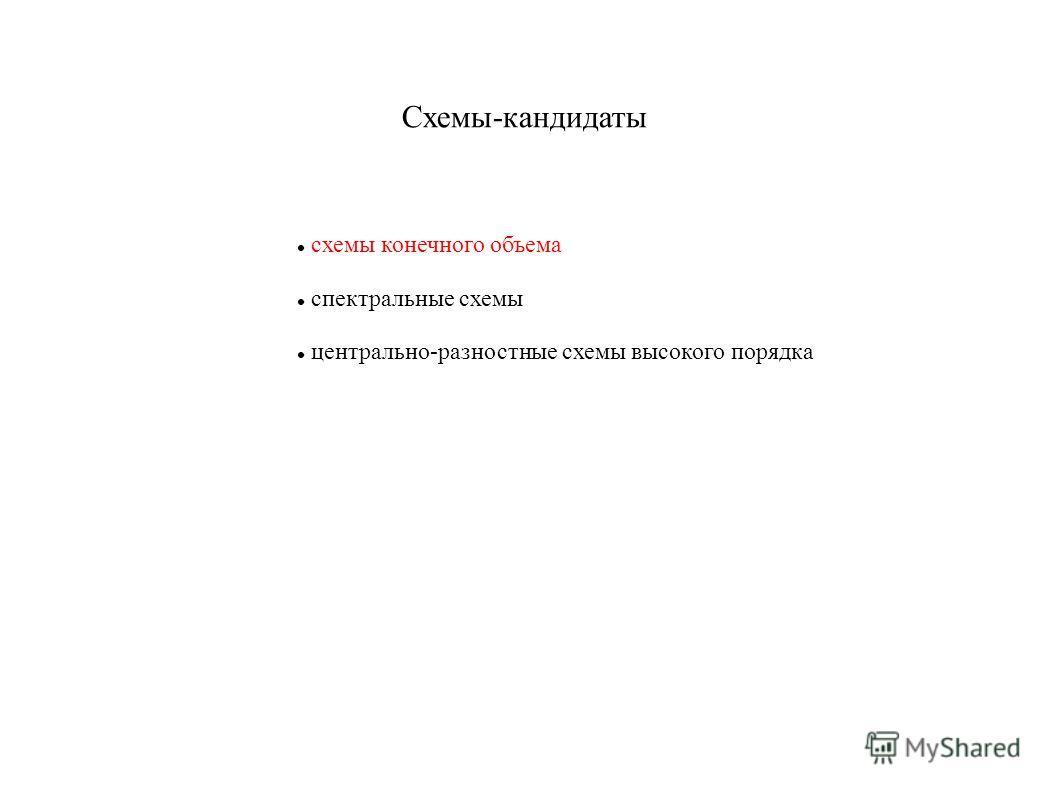 Схемы-кандидаты схемы конечного объема спектральные схемы центрально-разностные схемы высокого порядка