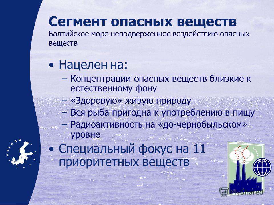Сегмент опасных веществ Балтийское море неподверженное воздействию опасных веществ Нацелен на: –Концентрации опасных веществ близкие к естественному фону –«Здоровую» живую природу –Вся рыба пригодна к употреблению в пищу –Радиоактивность на «до-черно