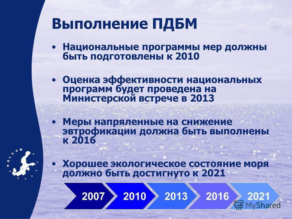 Выполнение ПДБМ Национальные программы мер должны быть подготовлены к 2010 Оценка эффективности национальных программ будет проведена на Министерской встрече в 2013 Меры напряленные на снижение эвтрофикации должна быть выполнены к 2016 Хорошее эколог