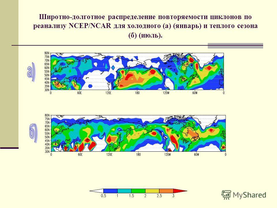 Широтно-долготное распределение повторяемости циклонов по реанализу NCEP/NCAR для холодного (а) (январь) и теплого сезона (б) (июль).
