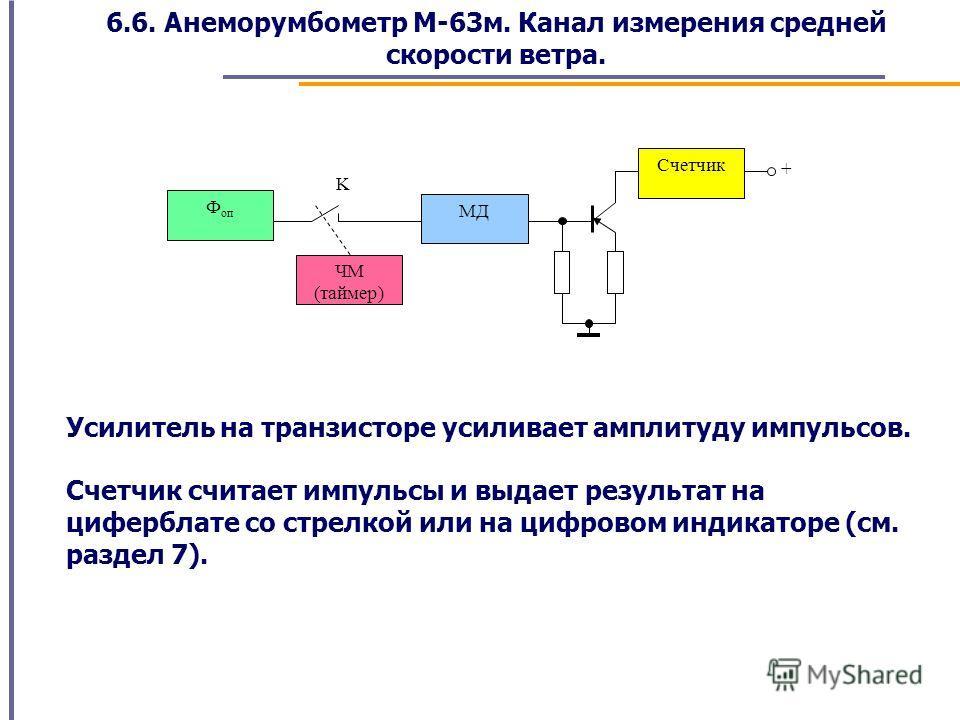 6.6. Анеморумбометр М-63м. Канал измерения средней скорости ветра. Ф оп ЧМ (таймер) МД Счетчик + K Усилитель на транзисторе усиливает амплитуду импульсов. Счетчик считает импульсы и выдает результат на циферблате со стрелкой или на цифровом индикатор