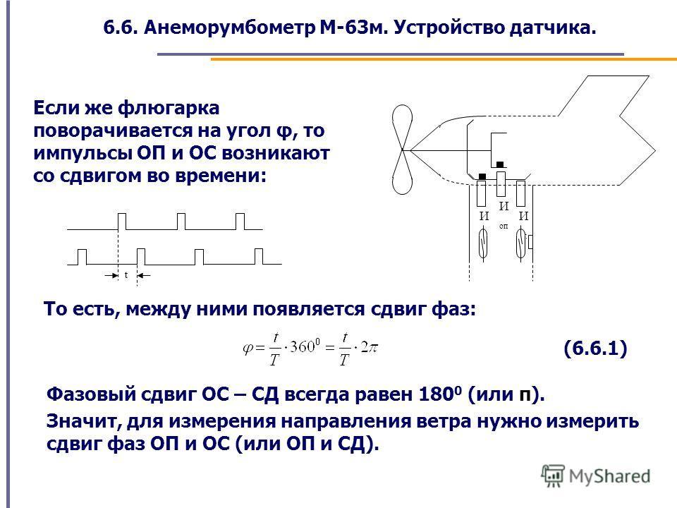 6.6. Анеморумбометр М-63м. Устройство датчика. И ос И сд И оп Если же флюгарка поворачивается на угол φ, то импульсы ОП и ОС возникают со сдвигом во времени: t То есть, между ними появляется сдвиг фаз: (6.6.1) Фазовый сдвиг ОС – СД всегда равен 180 0