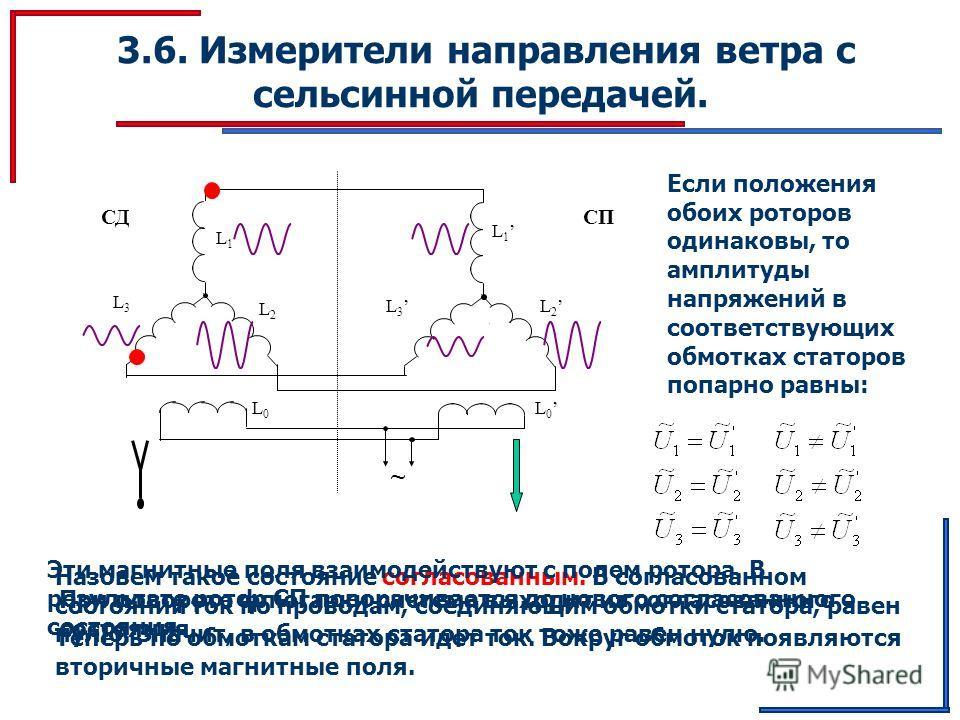 3.6. Измерители направления ветра с сельсинной передачей. ~ L 1 L1L1 L 3 L 2 L3L3 L2L2 L 0 L0L0 СПСД Если положения обоих роторов одинаковы, то амплитуды напряжений в соответствующих обмотках статоров попарно равны: Назовем такое состояние согласован