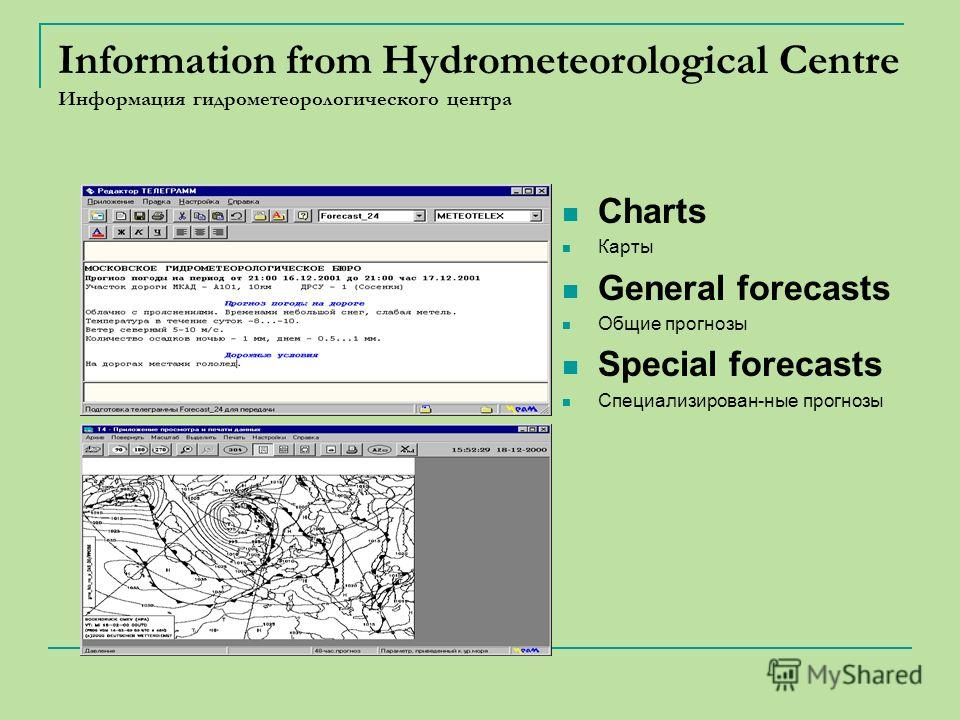 Information from Hydrometeorological Centre Информация гидрометеорологического центра Charts Карты General forecasts Oбщие прогнозы Special forecasts Cпециализирован-ные прогнозы