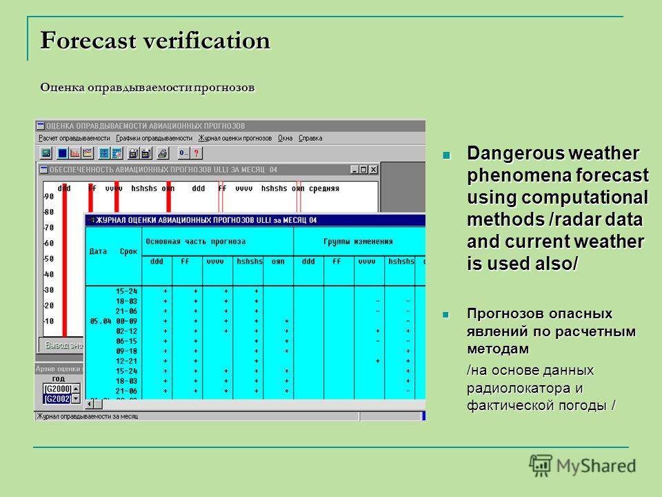 Forecast verification Оценка оправдываемости прогнозов Dangerous weather phenomena forecast using computational methods /radar data and current weather is used also/ Dangerous weather phenomena forecast using computational methods /radar data and cur