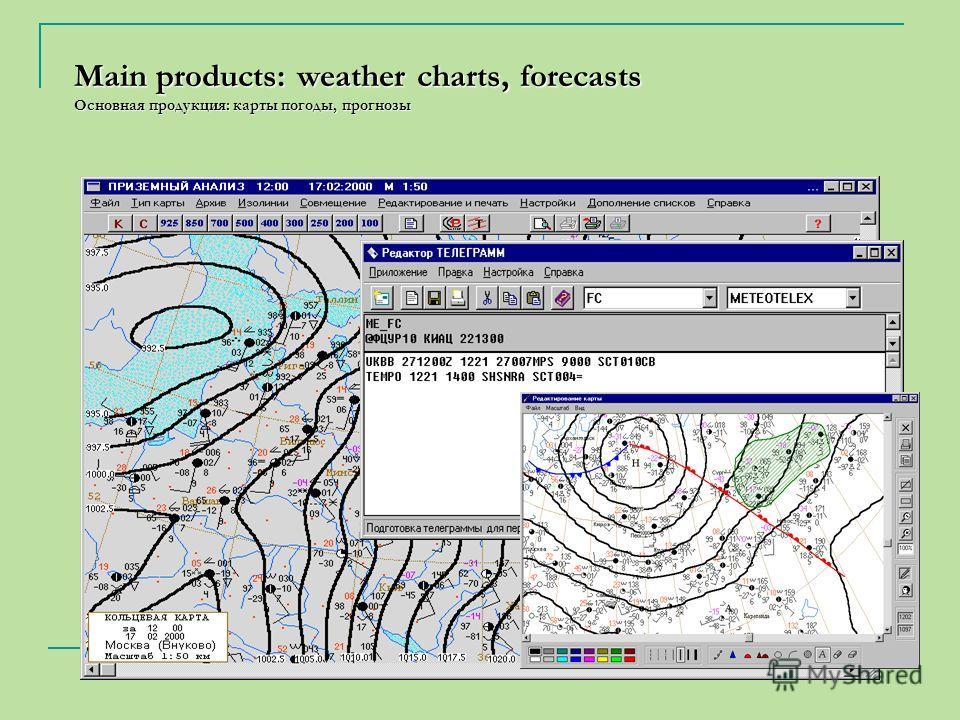 Main products: weather charts, forecasts Основная продукция: карты погоды, прогнозы