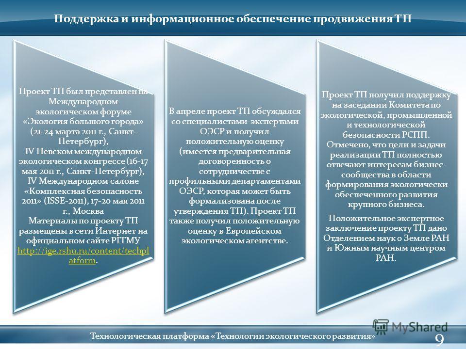 Поддержка и информационное обеспечение продвижения ТП 9 Технологическая платформа «Технологии экологического развития» Проект ТП был представлен на Международном экологическом форуме «Экология большого города» (21-24 марта 2011 г., Санкт- Петербург),