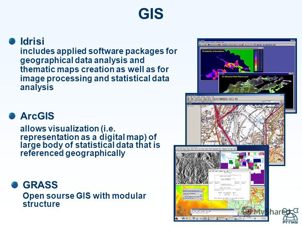 GIS Idrisi includes applied software packages for geographical data analysis and thematic maps creation as well as for image processing and statistical data analysis ArcGIS allows visualization (i.e. representation as a digital map) of large body of