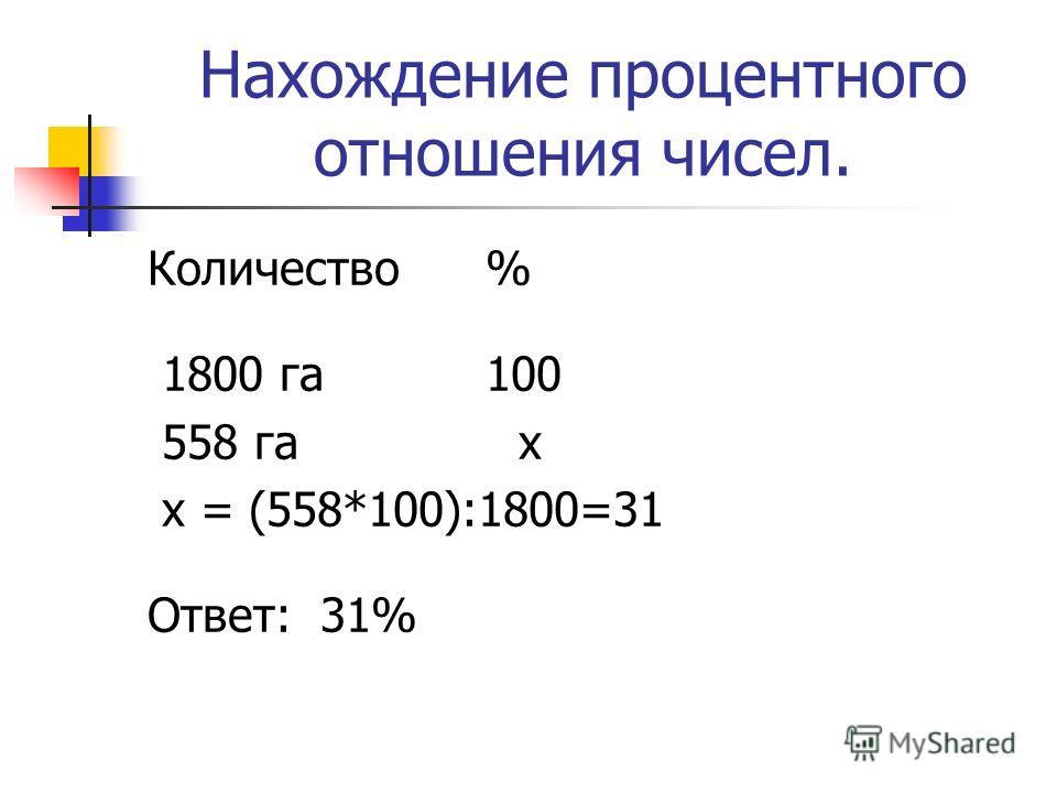 Нахождение процентного отношения чисел. Количество % 1800 га 100 558 га х x = (558*100):1800=31 Ответ: 31%