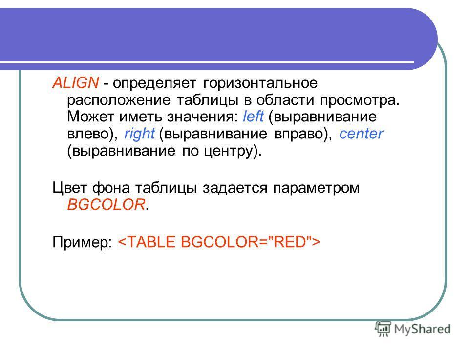ALIGN - определяет горизонтальное расположение таблицы в области просмотра. Может иметь значения: left (выравнивание влево), right (выравнивание вправо), center (выравнивание по центру). Цвет фона таблицы задается параметром BGCOLOR. Пример: